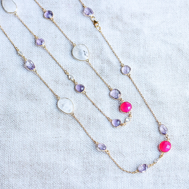 Solar quartz, amethyst and fuchsia chalcedony necklace