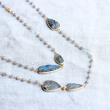 Carved labradorite leaves and topaz necklace