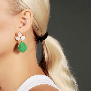 Regal aventurine and mother of pearl gold drop earrings
