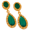Green onyx and crystal double drop earrings