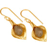 Gold and labradorite petal earrings