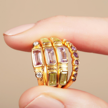 Gold vermeil amethyst and crystal rectangle ring
