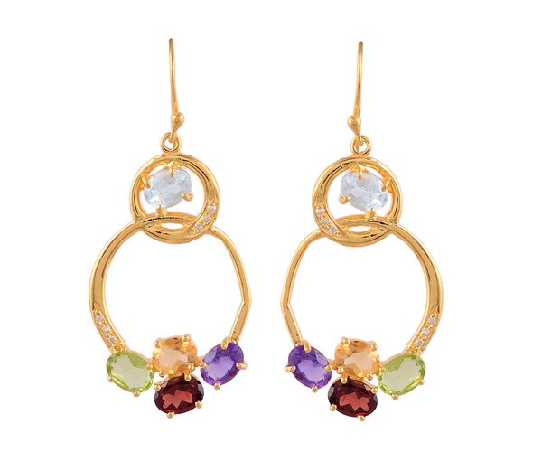 Double loop gemstone earrings
