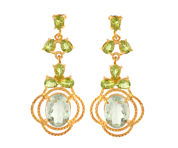 Peridot and topaz statement earrings