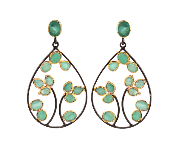 Delicate sliced emerald drop earrings