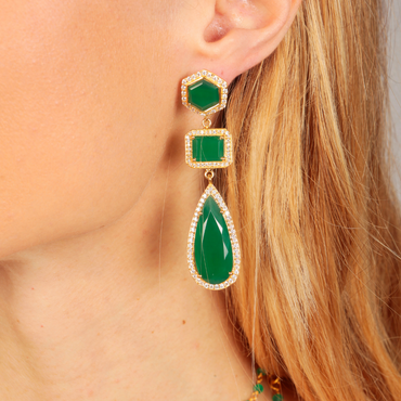Twilight statement earrings with green onyx and crystals