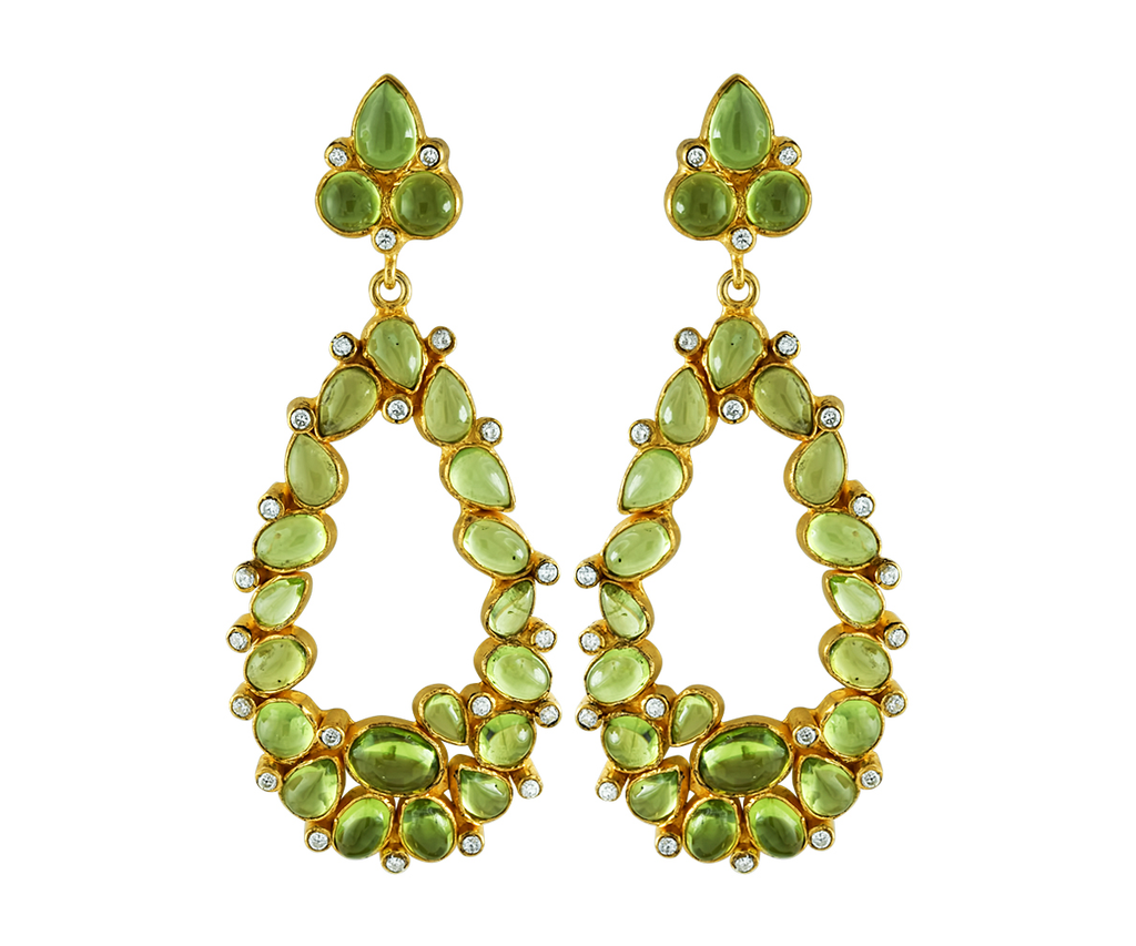 Peridot and crystal statement earrings
