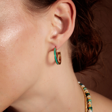 Aqua and gold enamel hoops