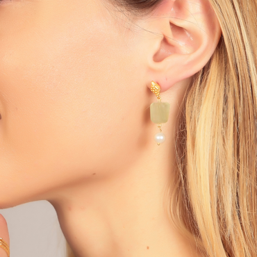 Delicate bud earrings with chalcedony and pearl