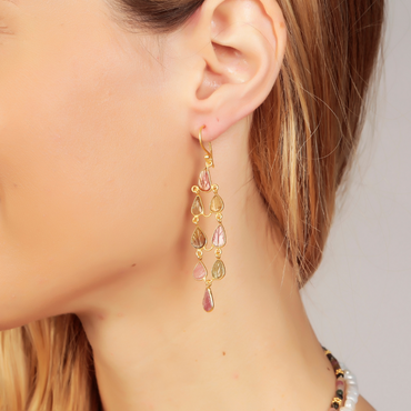 Tourmaline carved leaf dreamcatcher earrings