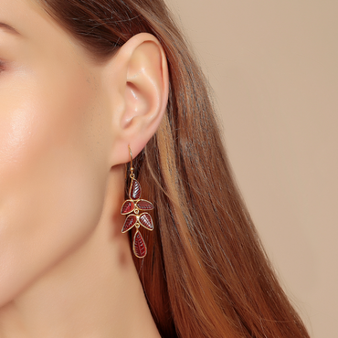 Carved garnet petal gold earrings
