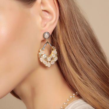 Moonstone and crystal heirloom earrings