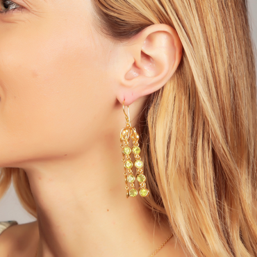 Dome waterfall gold earrings with peridot