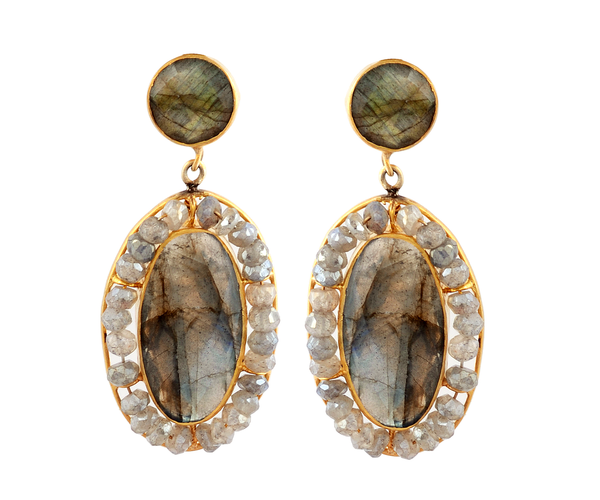 Double drop delicate labradorite earrings