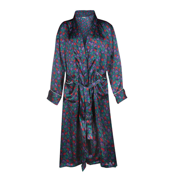 Berry Blue Luxury Silk Dressing Gown