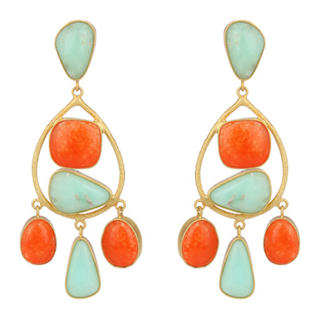 Aventurine and chrysoprase gold statement earrings