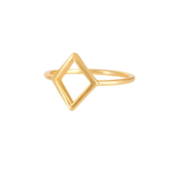 Gold minimal diamond-shaped ring