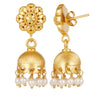 Gold and pearl chandelier drop earrings