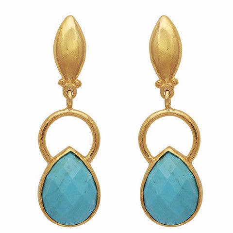 Gold ring and teardrop turquoise earrings