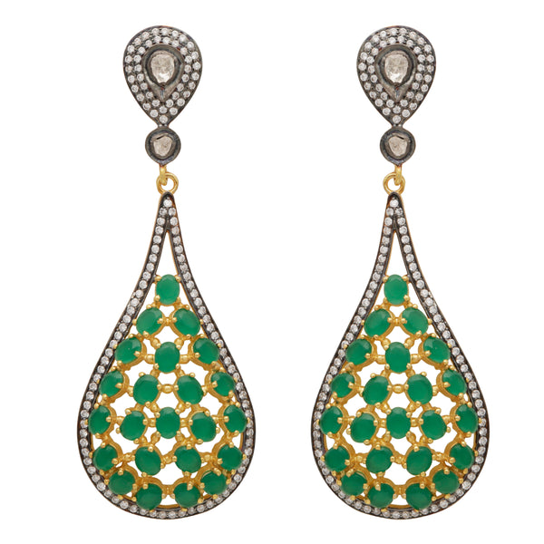 Green onyx and crystal statement earrings