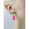 Green onyx and fuchsia chalcedony double drop long earrings