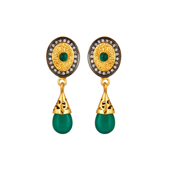 Intricate green onyx and crystal drops