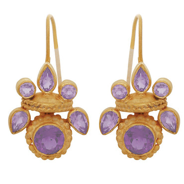 Intricate amethyst heritage gold earrings