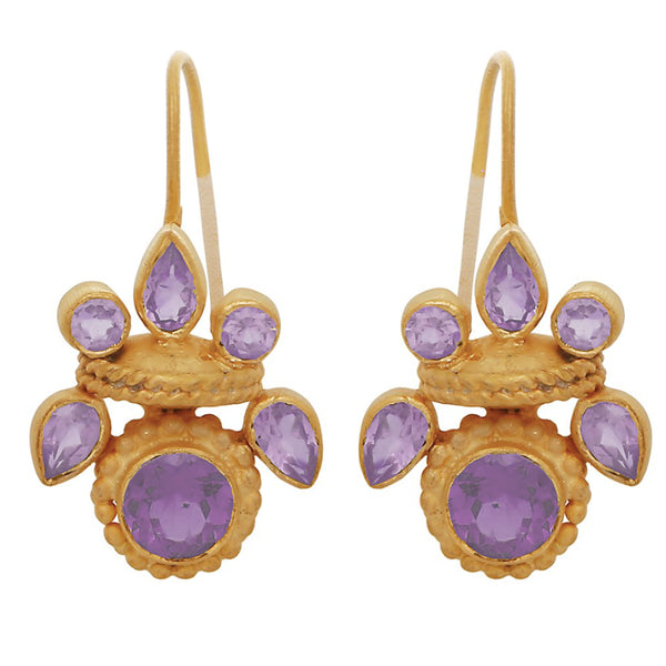 Intricate amethyst heritage earrings