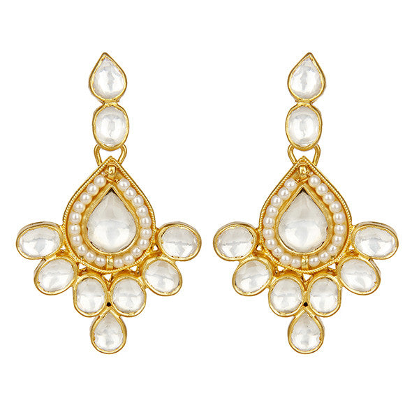Elegant crystal and pearl drop earrings