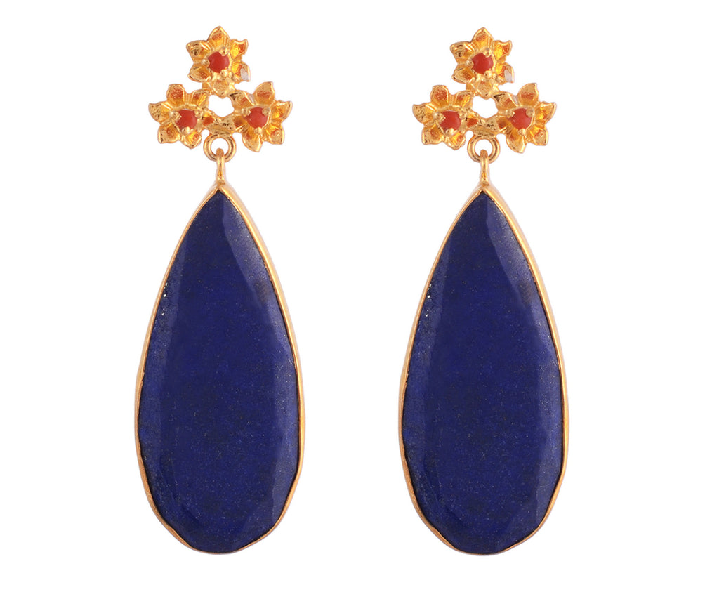 Lapis and carnelian drop earrings