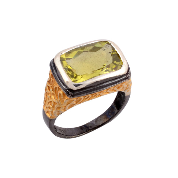 Lemon topaz cocktail ring