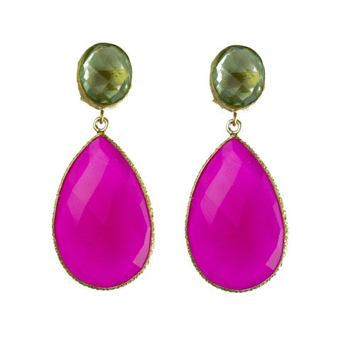 Double drop peridot and fuchsia chalcedony earrings