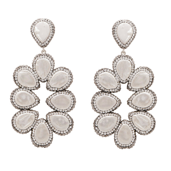 Mother of pearl and silver statement earrings
