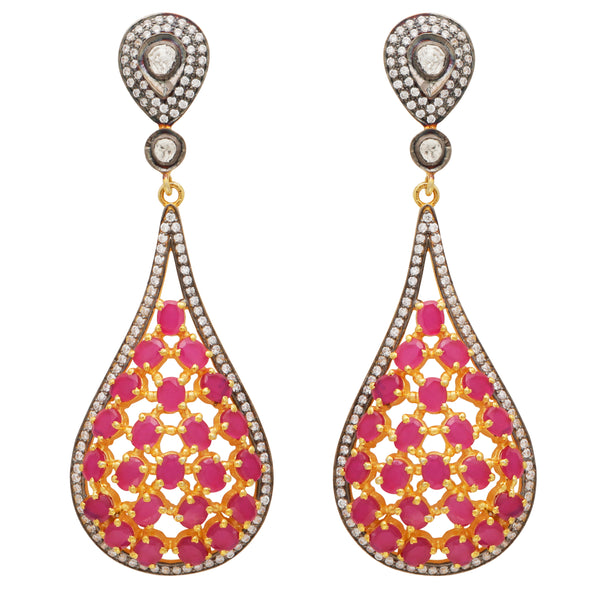 Pink and crystal statement earrings