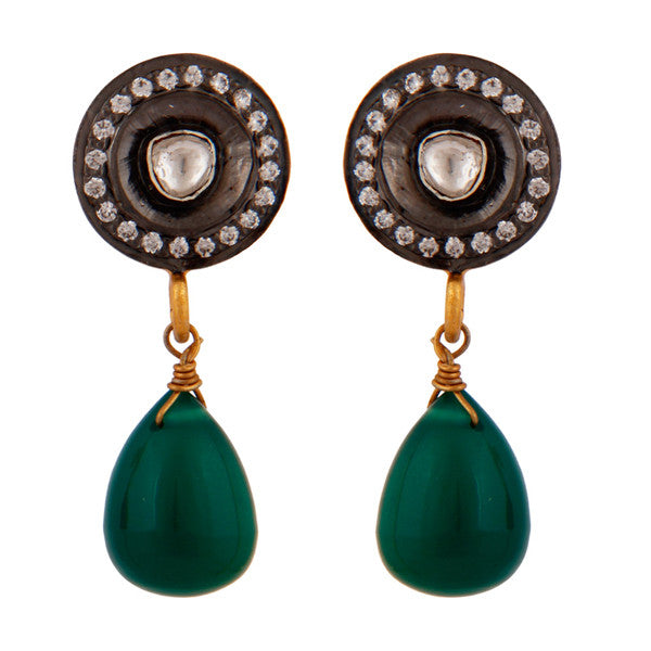 Crystal and green onyx drop earrings