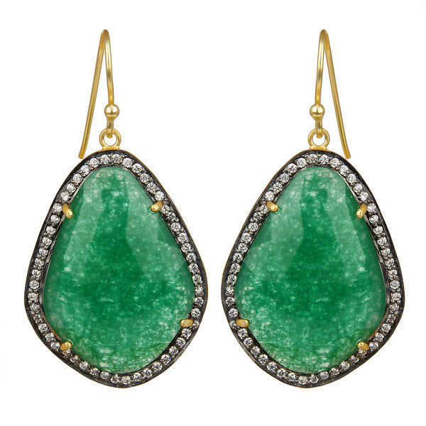 Green aventurine and crystal drops
