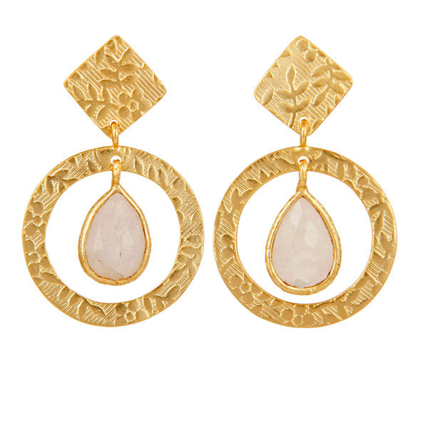 Delicate engraved gold and moonstone drop earrings
