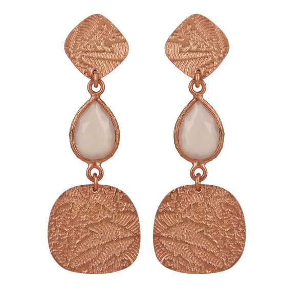 Delicate engraved rose gold and moonstone drop earrings