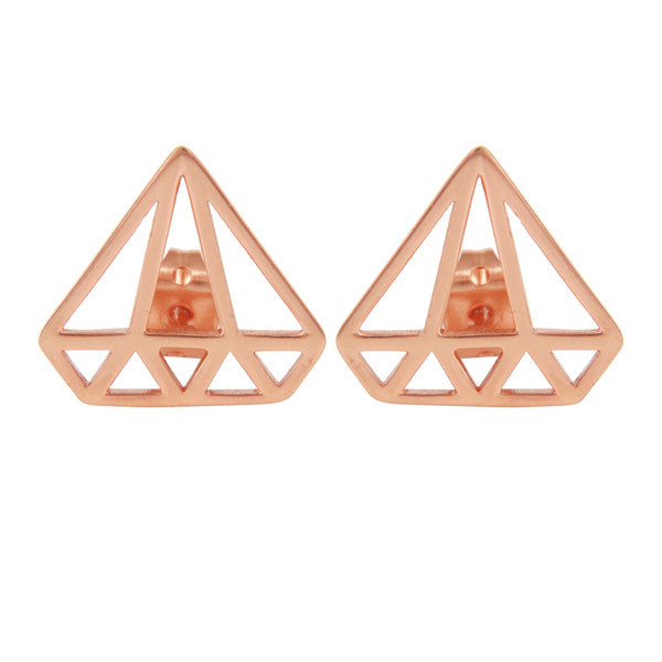 Rose gold minimal geometric pyramid earrings