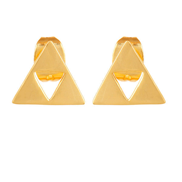 Gold minimal triangle earrings