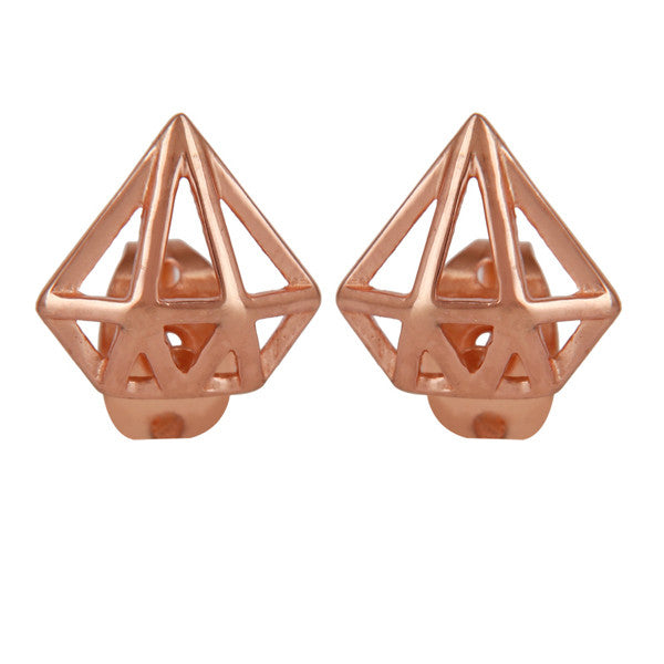 Rose gold minimal prism shaped earrings