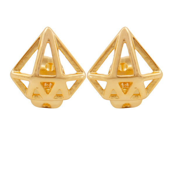 Gold minimal prism shaped earrings