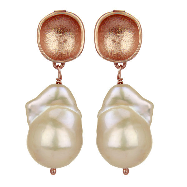 Rose gold nugget and pearl earrings