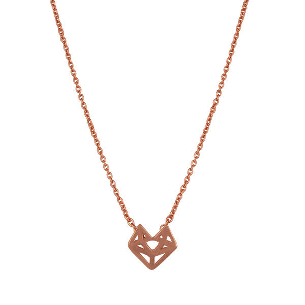 Rose gold minimal geometric fox necklace