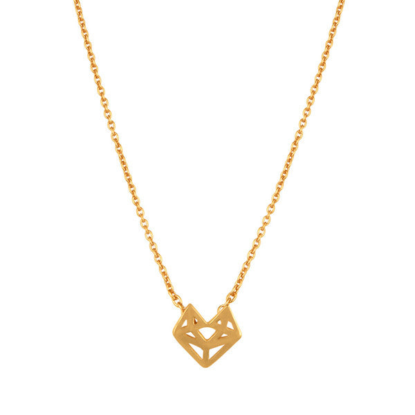 Gold minimal geometric fox necklace