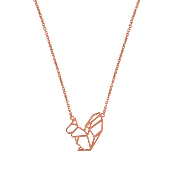 Rose gold minimal geometric squirrel necklace