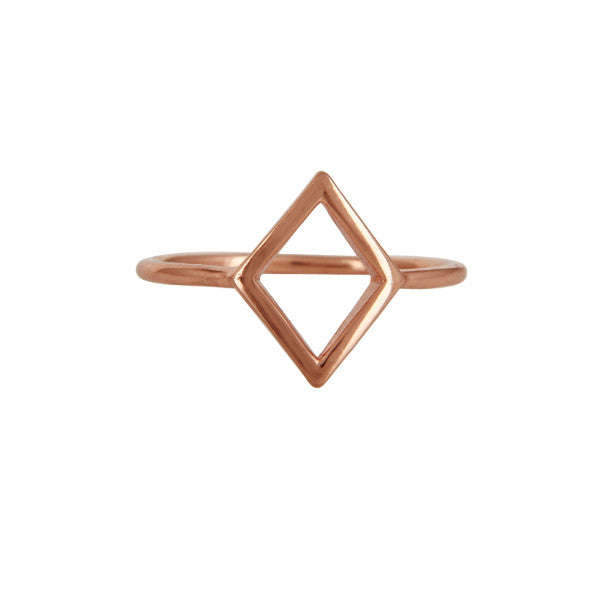 Rose gold minimal diamond-shaped ring