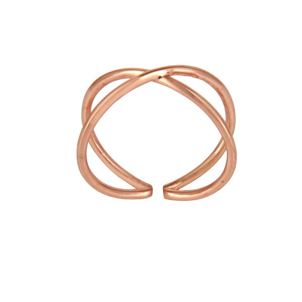 Rose gold minimal double loop ring