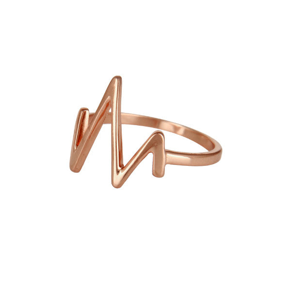 Rose gold minimal heartbeat ring