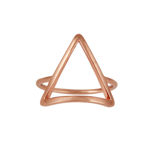Rose gold minimal triangle ring